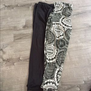 Leggings bundle dark grey& tribal print